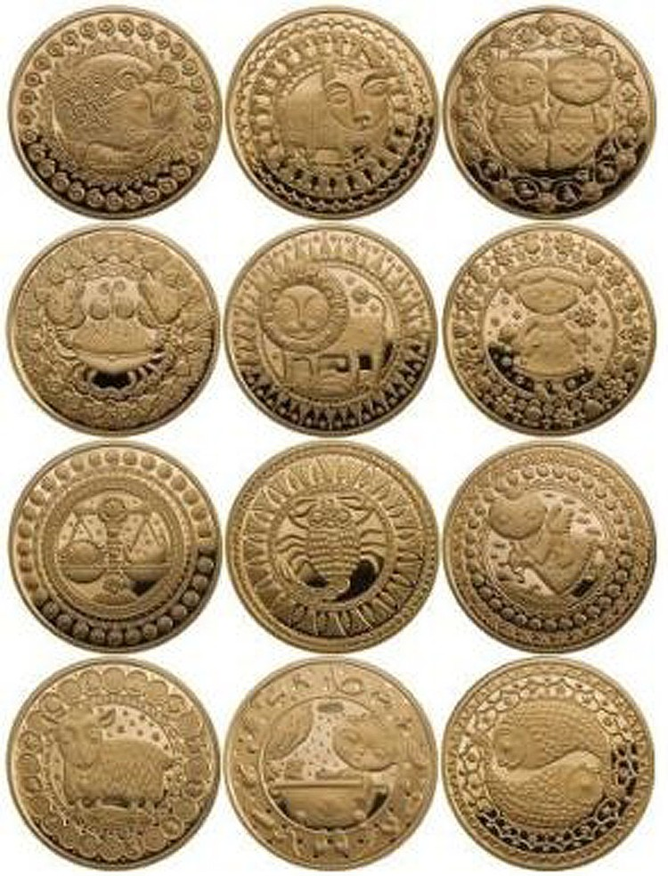 12 коллекционных золотых монет «Знаки зодиака».