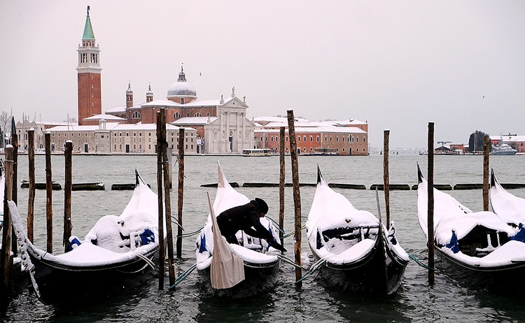 В Венеции, на острове Лидо, 25 февраля стало самым холодным в истории метеонаблюдений
