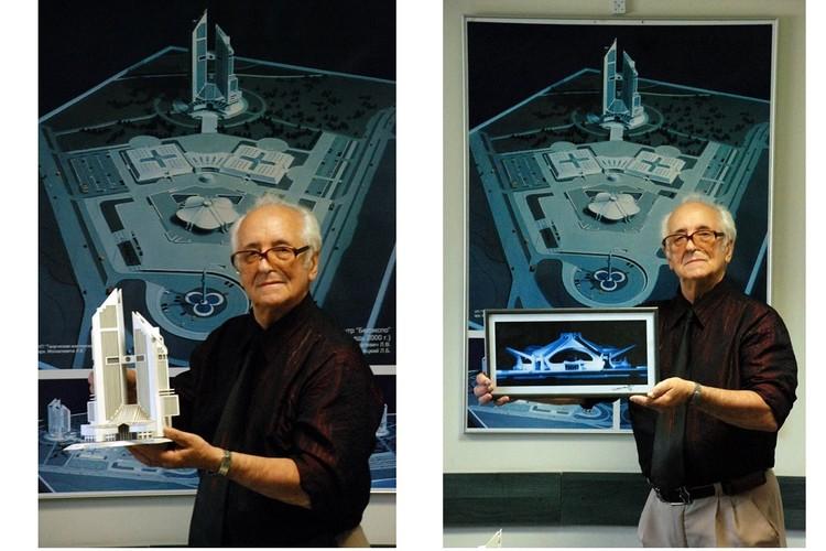 Леонард Москалевич с макетами своих проектов. Фото: соцсети.