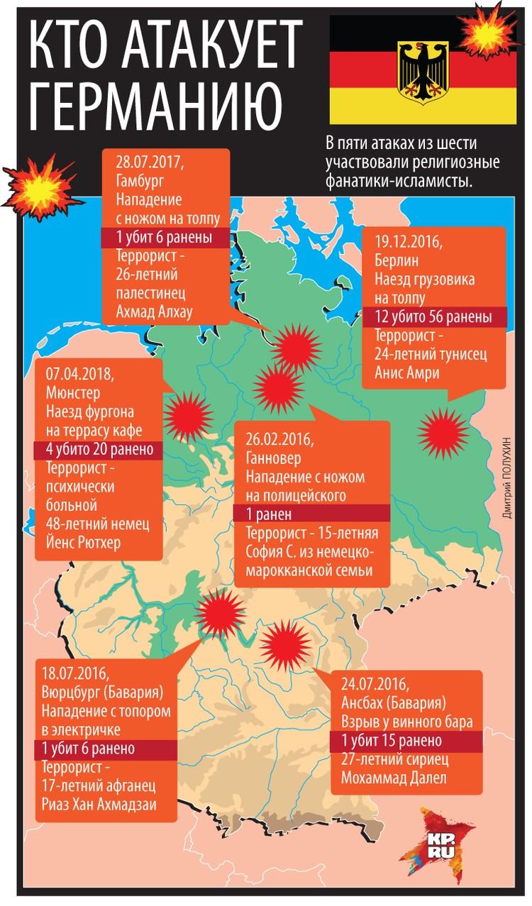 Карта террористических атак на территории Германии.