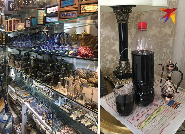 Слева – сувенирная лавка в Тегеране. Справа – вино. Алкоголь в Иране под запретом, но его можно найти, например, в армянских кварталах Тегерана