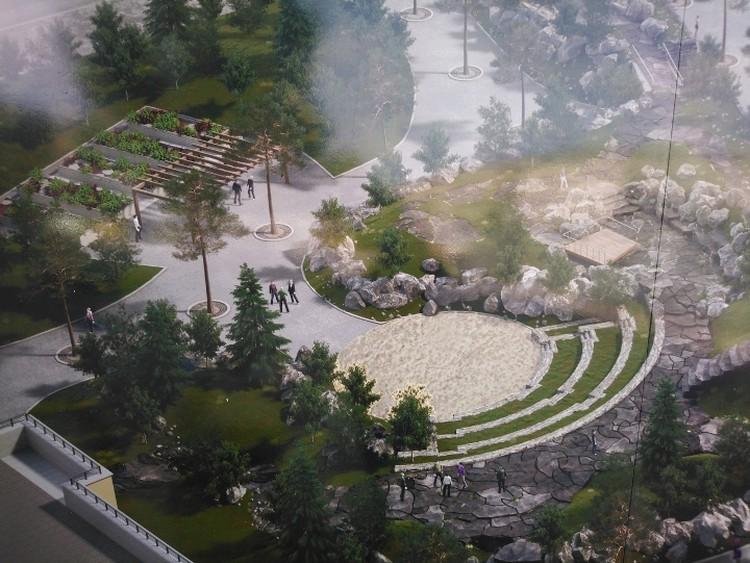 Будущий амфитеатр в сквере