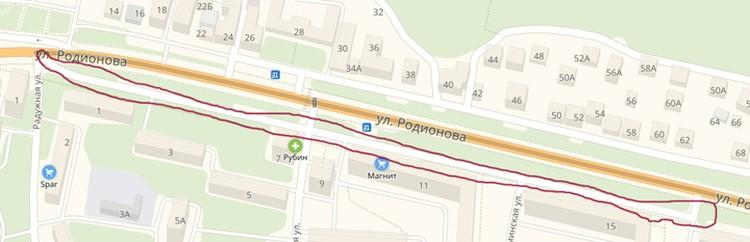 Объезд улицы Родионова во время строительства метро. Фото: ЯндексюКарты