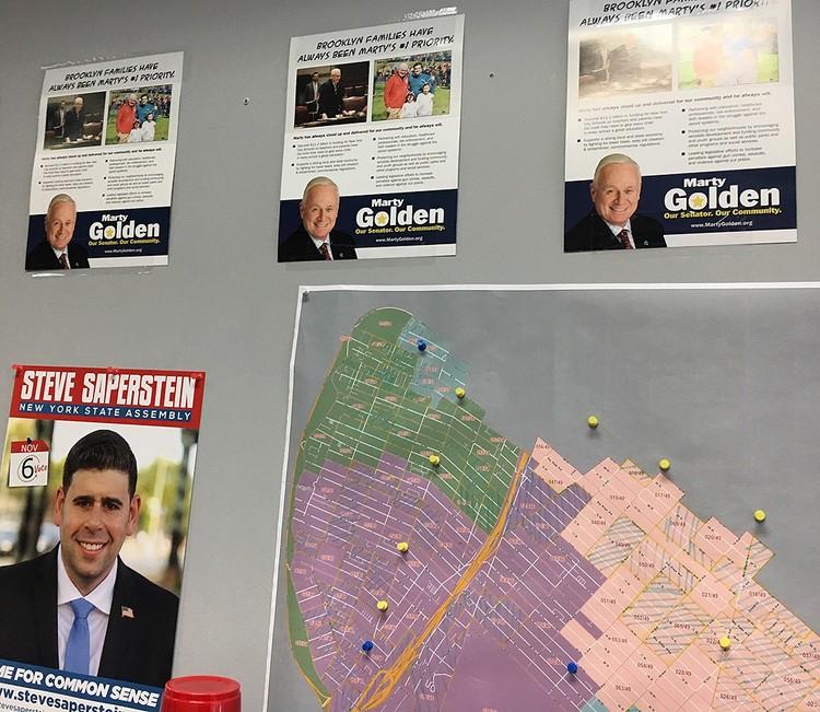 Карта одного из районов Бруклина с пометками для агитаторов.