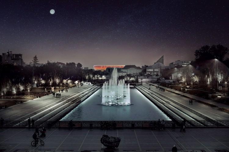 Вид на арену со стороны проспекта Ленина. Фото: УГМК