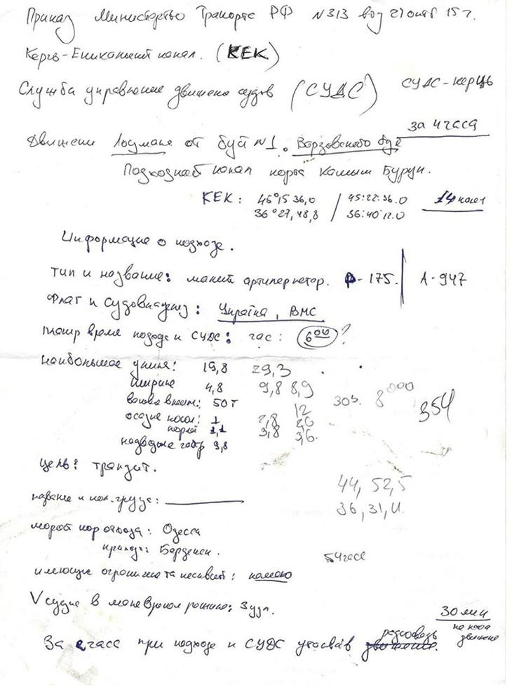Одна из бумаг представляет собой шпаргалку по легальному проходу Керченского пролива