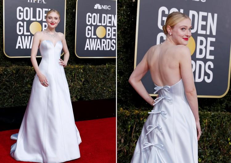 Дакота Феннинг выбрала простое белое платье с замысловатой спинкой