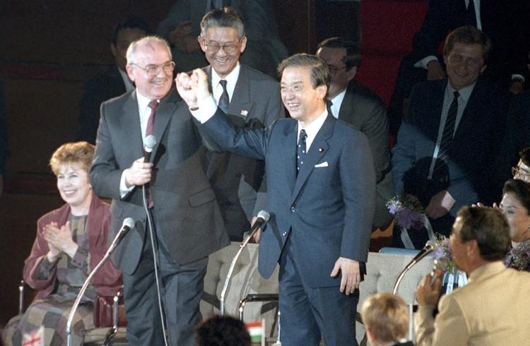 Премьер-министр Японии Тосики Кайфу и Президент СССР Михаил Горбачев, апрель 1991 г.