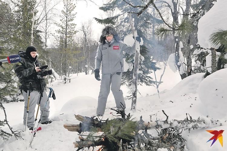 Андрей Малахов участвует в эксперименте - легко ли разжечь костер на том месте, где пытались выжить дятловцы.