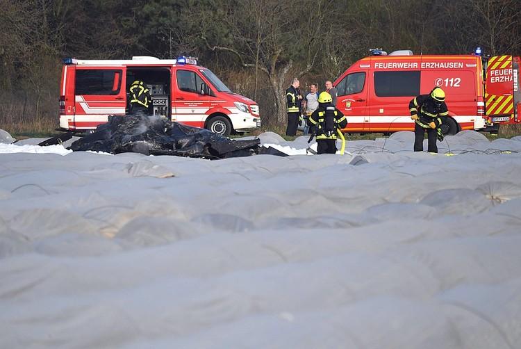 Самолет разбился в поле со спаржей. На фото - работа немецких спасателей.