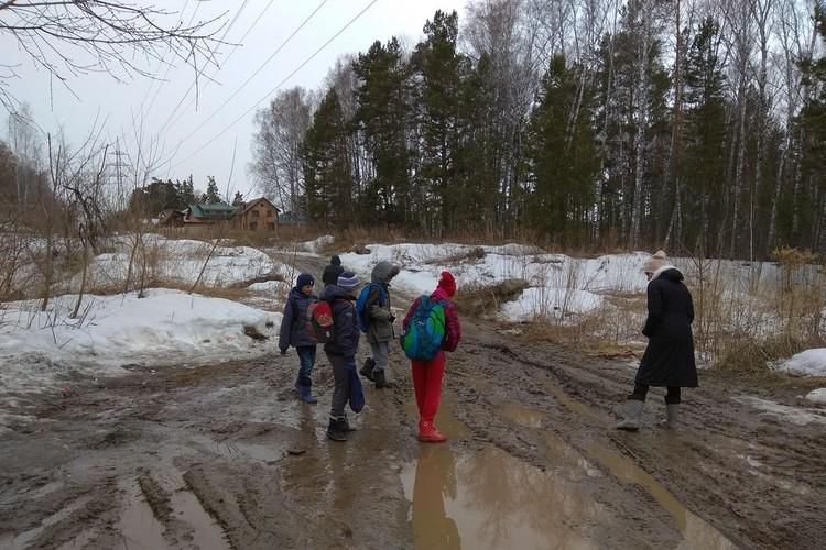 """Дорога до школы у детей - это полоса препятствий. Фото: """"Гражданский патруль""""."""