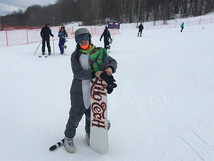 Одно из увлечений Марии Деруновой - сноуборд.