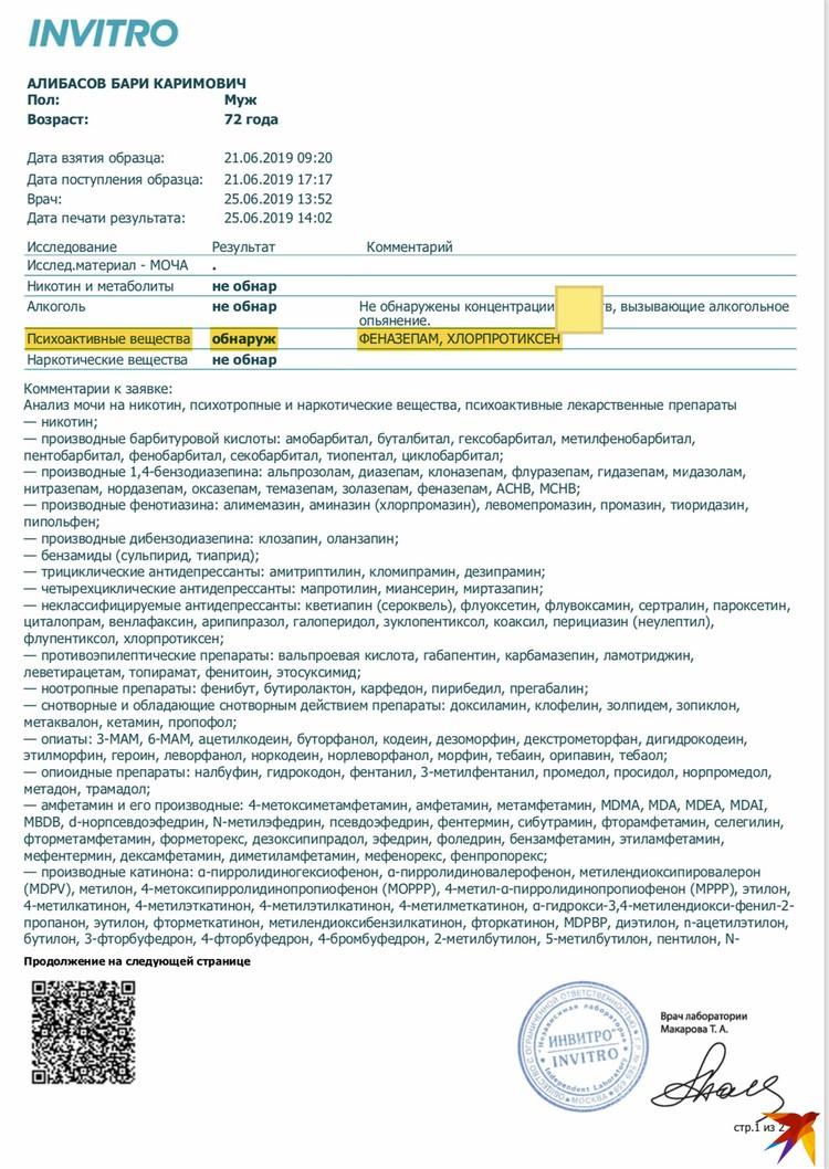 Результаты анализов Алибасова на психотропные вещества