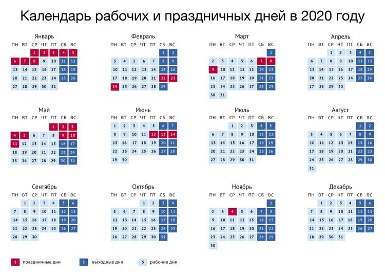 Календарь выходных на 2020 год
