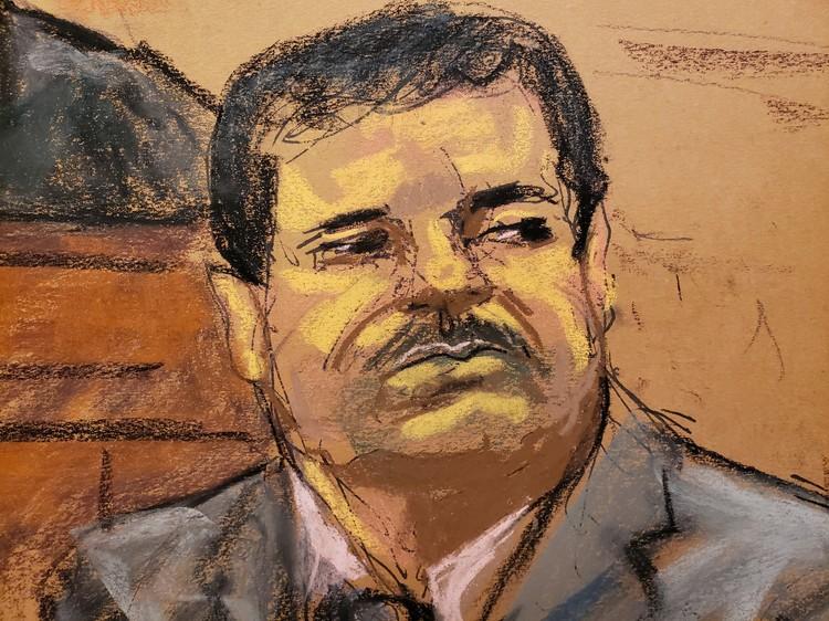 Судебный рисунок наркобарона в день оглашения приговора.