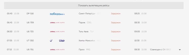 """Вылет еще 5 рейсов задерживается на несколько часов. Фото: онлайн-табло """"Кольцово"""""""