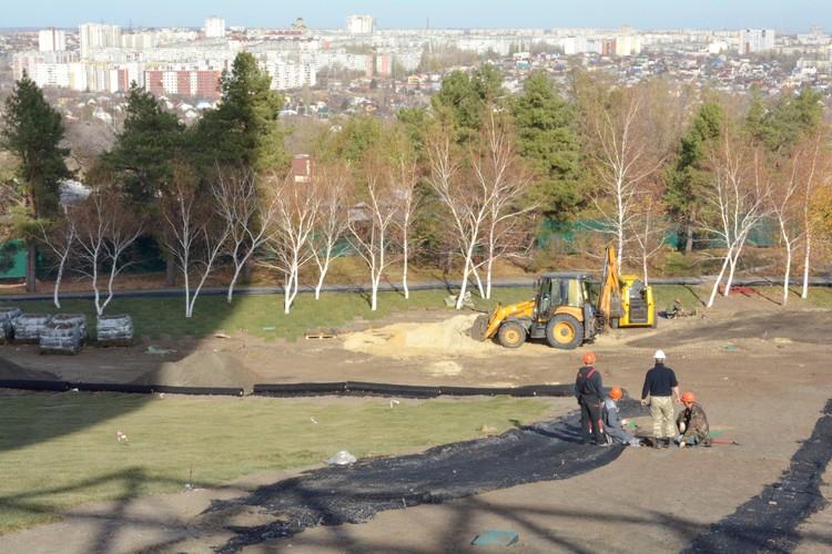 Перед тем, как раскатать газон, склон укрепляют геосеткой.