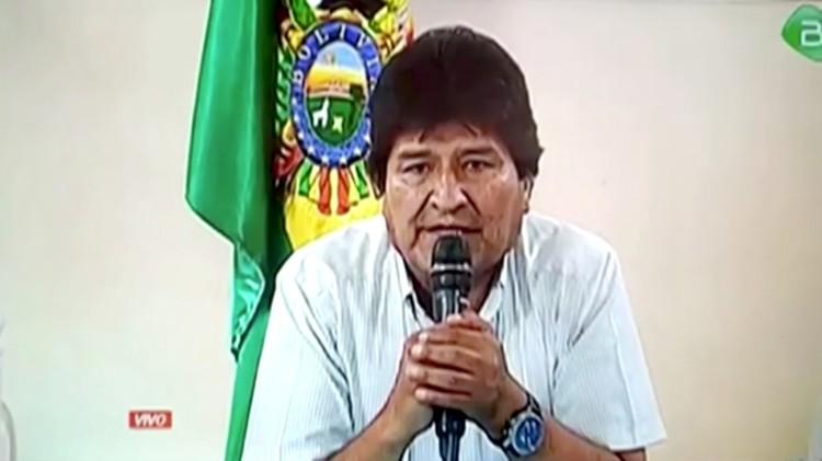 Кадр из видеозаписи с заявлением об отставке Моралеса.