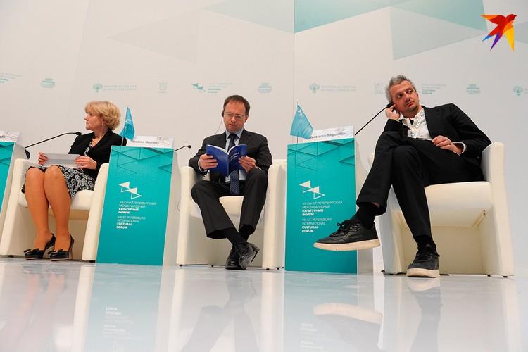 Участниками первой крупной дискуссия стали Министр культуры Владимир Мединский, Ольга Голодец, Константин Богомолов.