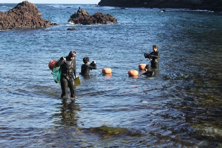 На острове, как и сто лет назад, работают женщины-ныряльщицы, которые добывают в море моллюсков