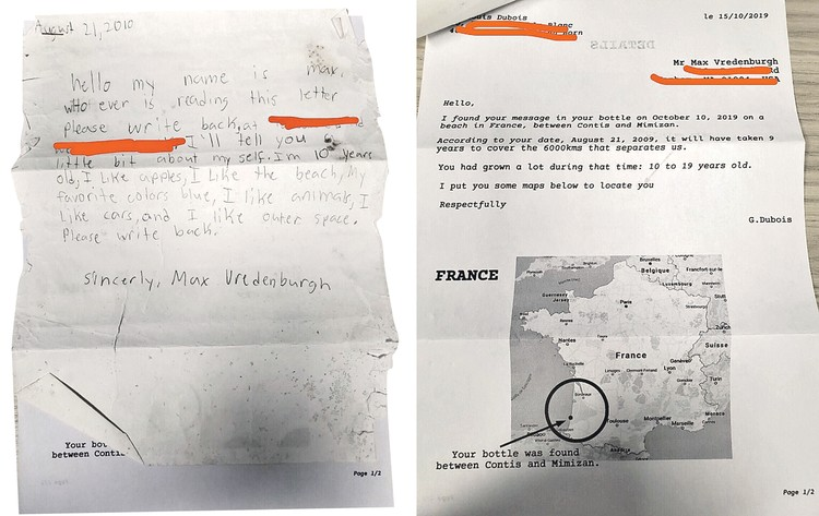 Француз нашел послание американского мальчика Макса (на фото слева). И ответил ему, указав место, где обнаружил бутылку с письмом (фото справа).
