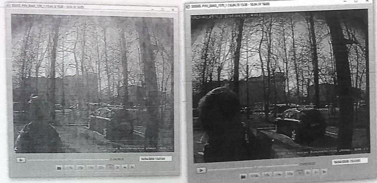 Съемка камеры под козырком подъезда. 14.40: заходит девочка. Следом идет страждущий мужчина.