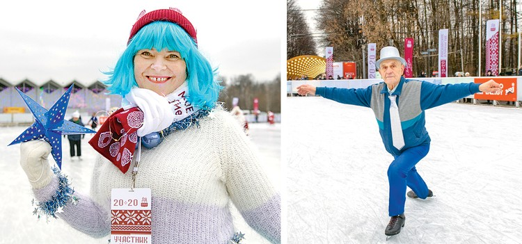 На ледовом балу Марина Дубровская (на фото слева) и Лев Шурыгин (на фото справа) лихо катались на коньках на зависть столпившимся у бортика зевакам.
