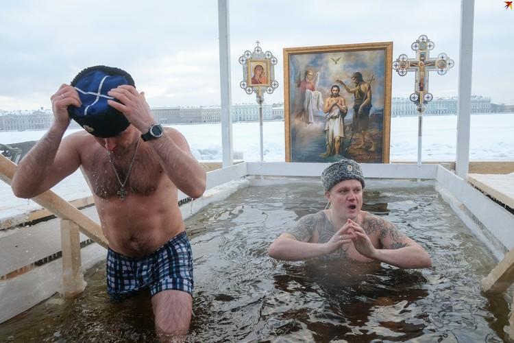 Крещенские купания в Неве.