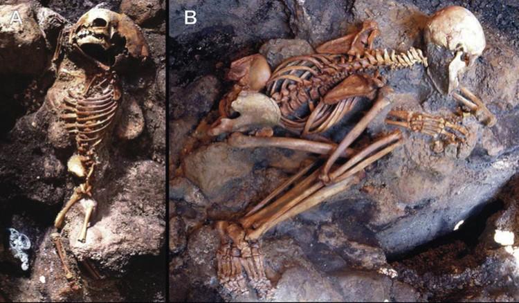 Скелеты, которые мгновенно лишились плоти под воздействием высокой температуры.
