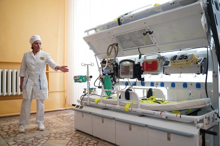 Двухместный вертолетный модуль позволяет быстро перевозить тяжелых больных в Москву