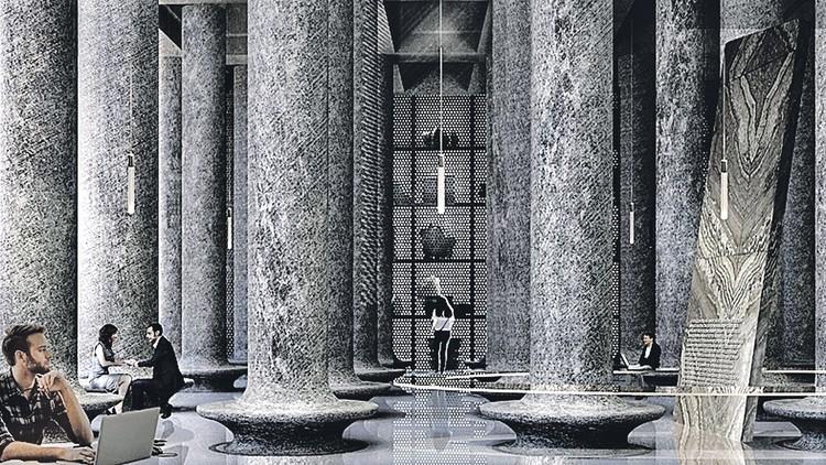 Проект: так будет выглядеть «подземный уровень». Архитектурное решение навеяно константинопольской Цистерна Базиликой. Фото: meganom.moscow.ru