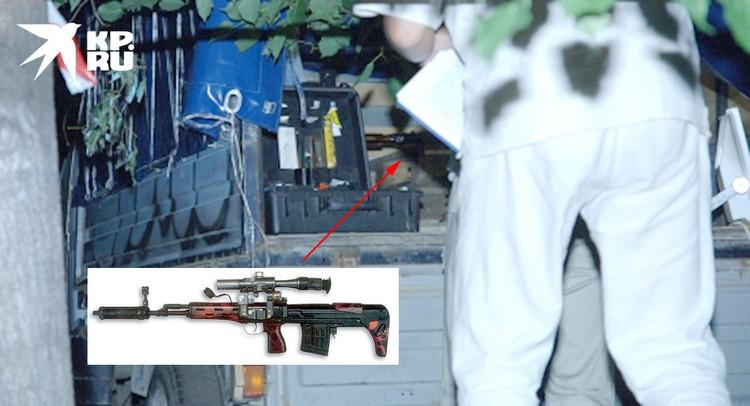 Орудие покушения (снайперская винтовка), найденная в фургоне Газели.