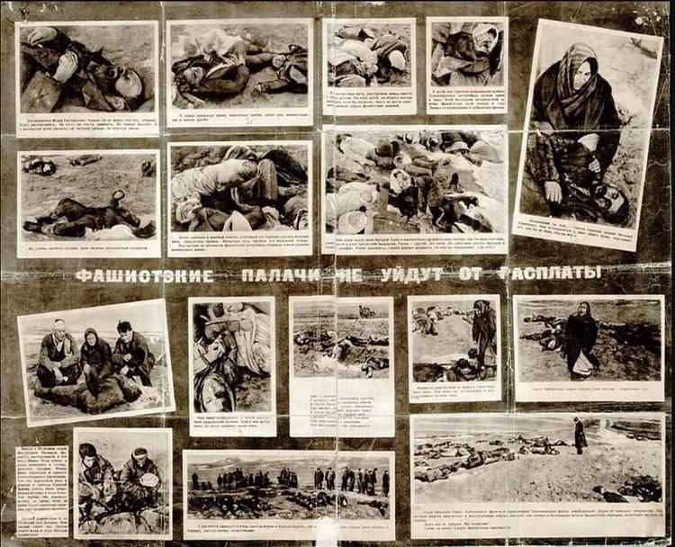 Плакат из фотографий зверств фашистов в Керчи. Фото Е.Халдей / Из фондов Восточно-крымского историко-культурного музея-заповедника