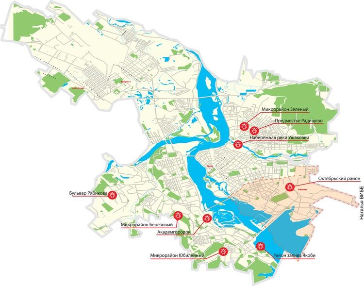 Карта опасности клещей в Иркутске.
