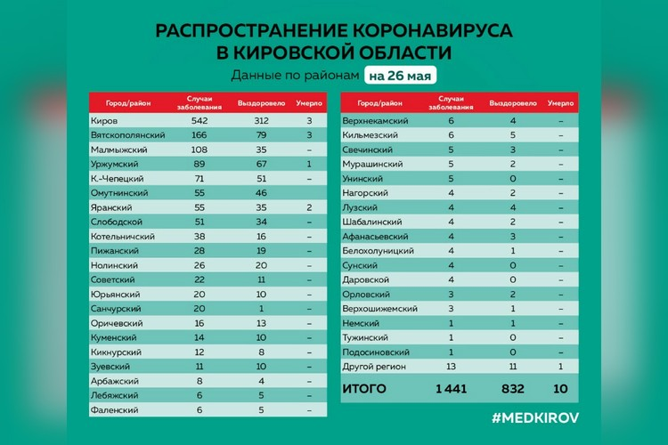 Подробная статистика по коронавирусу в Кировской области. Фото: vk.com/medkirovru