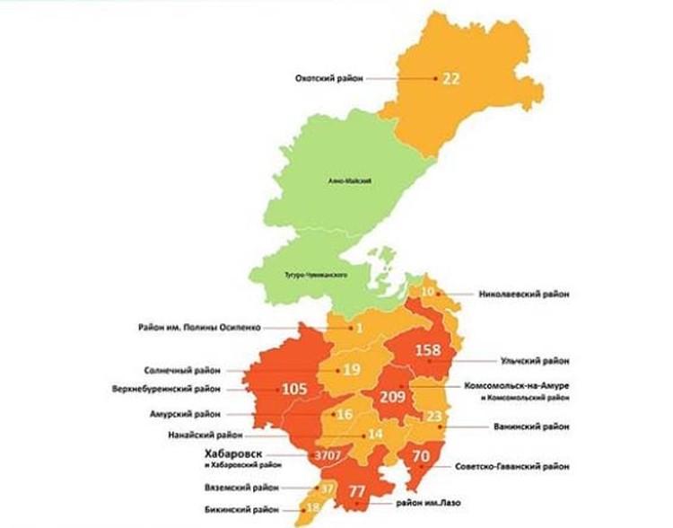 Заболеваемость по районам края. Статистика по информации минздрава Хабаровского края