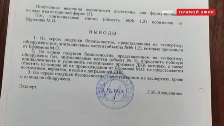 На водительской подушке безопасности автомобиля Михаила Ефремова найдены следы ДНК актера