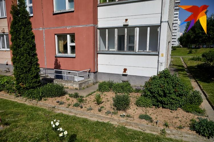 Под оном квартиры Елены Константиновны - клумба, за которой она любит ухаживать.