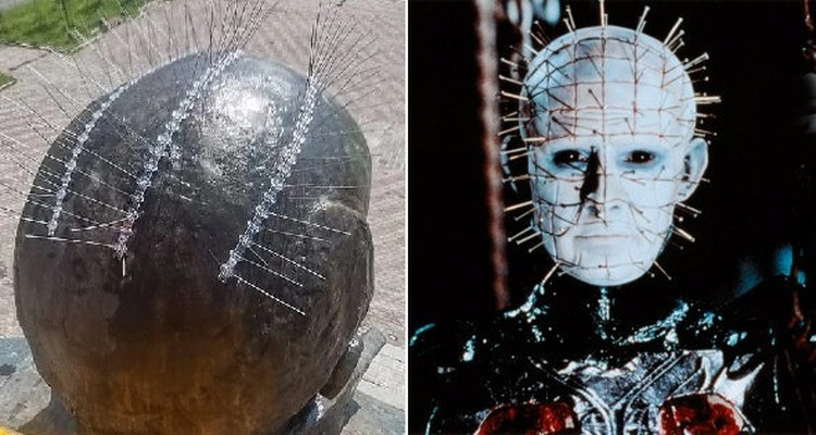 Статую тут же сравнили с Пинхедом (голова в булавках) - героем фильма «Восставший из ада». Источник: социальные сети/Википедия