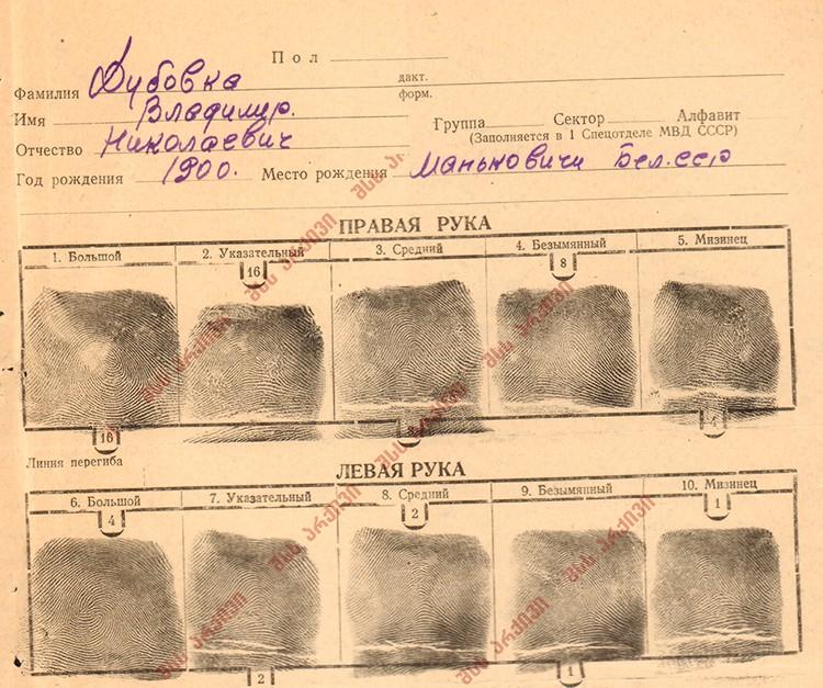 Отпечатки пальцев в деле Дубовки. Фото предоставлено Анной Северинец