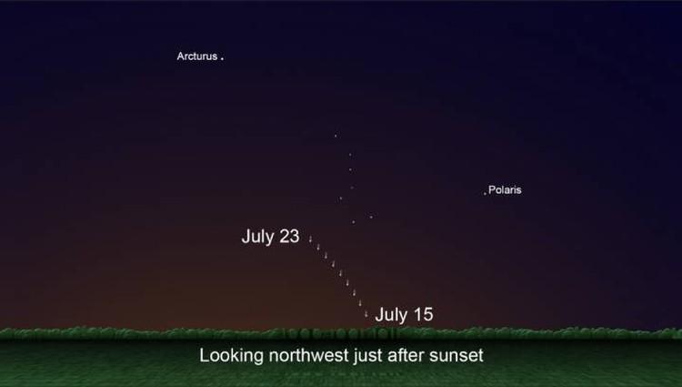Искать комету на небе надо ниже и левее Большой Медведицы.