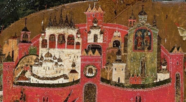 Церковь Бориса и Глеба справа на фрагменте иконы с видом Новгородского кремля XVI века. Фото: пресс-служба ИА РАН