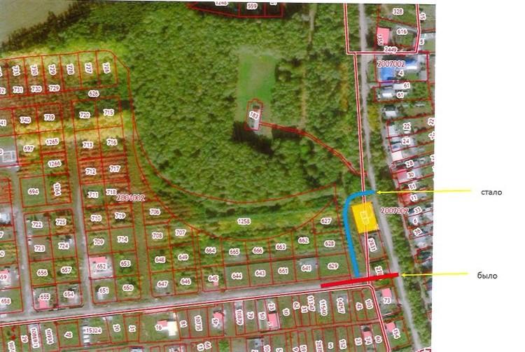 На схеме красным цветом показана старая дорога, синим - новая. Фото: администрация Сосновского района