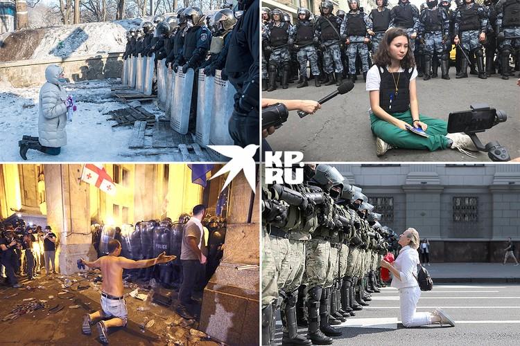Цветные революции проходят по одному и тому же сценарию. Будь то Грузия, Украина, Белоруссия или митинг оппозиции в Москве... Фото: AP/EAST NEWS, Getty Images