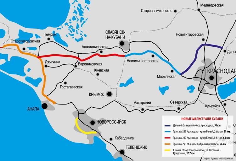 Карта новых участков дорог в Краснодарском крае Графика: Рустам НАРХОДЖАЕВ