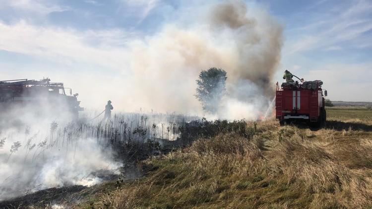 Возгорания почти одновременно произошли в четырех районах. Фото: ГУ МЧС России по РО.