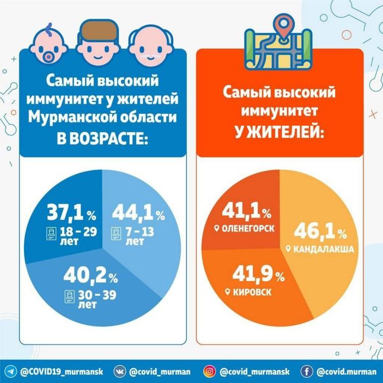 Результаты исследования на иммунитет к коронавирусу в Мурманской области. Фото: оперштаб