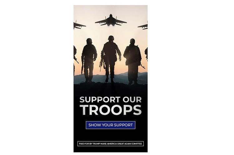 Кампания проводилась под девизом «Поддержи наши войска» по заказу предвыборного штаба Трампа.