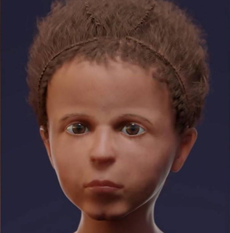 Воссозданное лицо умершего мальчика.