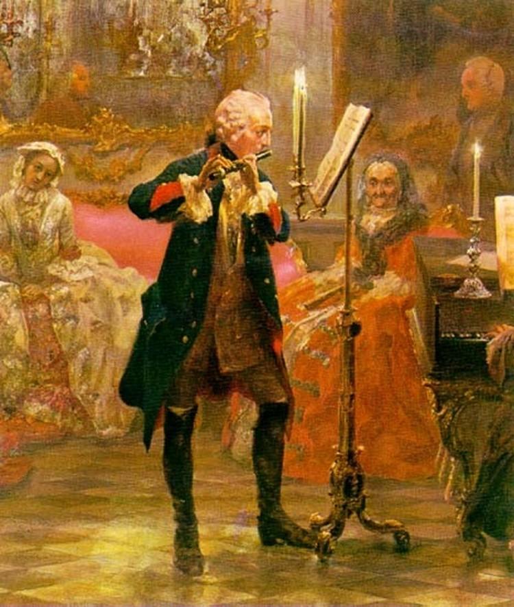 Фридрих II играет на флейте, фрагмент картины Адольфа фон Менцеля